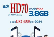 Gói cước HD70 của nhà mạng mobifone