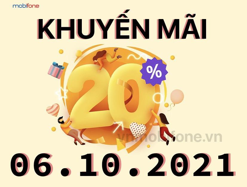 MobiFone khuyến mãi 20% giá trị thẻ nạp ngày 06/10/2021
